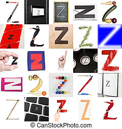 Collage of images with letter Z