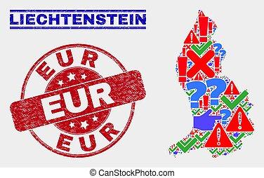 Collage of Liechtenstein Map Symbol Mosaic and Scratched EUR Stamp