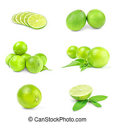 Collage of limes isolated on a white background with clipping path