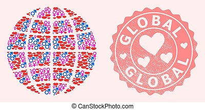 Collage of Love Smile Globe and Grunge Heart Stamp