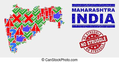 Collage of Maharashtra State Map Symbol Mosaic and Scratched No Struggle Stamp