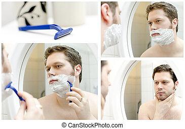 Collage of Man shaving. four photos.