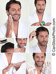 Collage of man shaving