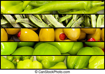 Collage of many fruits and vegetables