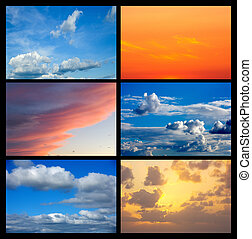 Collage of many images with sky