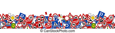 collage of many road sign illustration