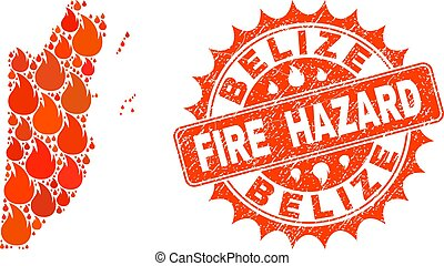 Collage of Map of Belize Burning and Fire Hazard Grunge Stamp Seal