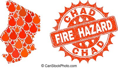 Collage of Map of Chad Burning and Fire Hazard Grunge Stamp Seal