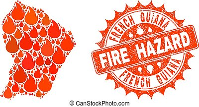 Collage of Map of French Guiana Burning and Fire Hazard Grunge Stamp Seal