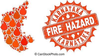 Collage of Map of Karnataka State Burning and Fire Hazard Grunge Stamp Seal