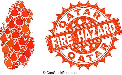 Collage of Map of Qatar Burning and Fire Hazard Grunge Stamp Seal
