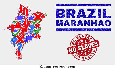 Collage of Maranhao State Map Symbol Mosaic and Scratched No Slaves Seal