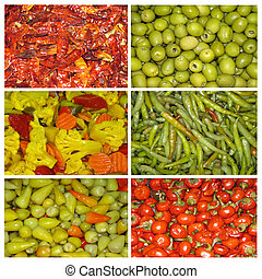 Collage of marinated vegetables