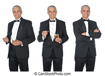 Collage of mature man wearing a tuxedo