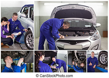 Collage of mechanics at work in the garage and with a...