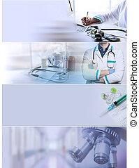 Collage of medical photos with doctor, medicine concept.