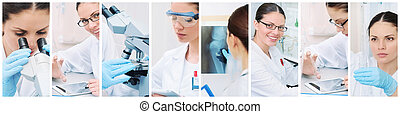 collage of medical researcher in laboratory