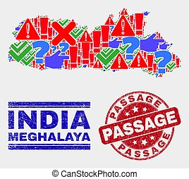 Collage of Meghalaya State Map Sign Mosaic and Scratched Passage Stamp Seal
