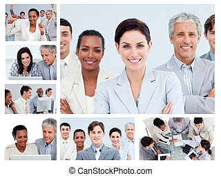 Collage of middle-aged businesspeople in different situations