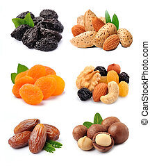Collage of mix dried fruits and nuts.
