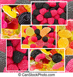 collage of mixed candy
