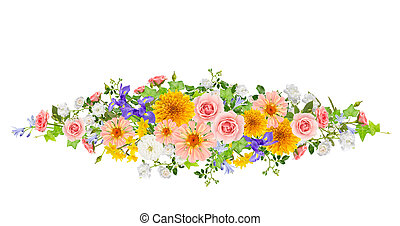 Collage of mixed flowers on white