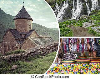 Collage of Monasteries ( Armenia ) images - travel background