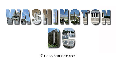Collage of monuments and landmarks of Washington DC, text with shadow, isolated on white