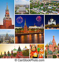 Collage of Moscow (Russia) images - travel background (my...
