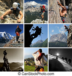 Collage of mountain summer sports including hiking, climbing and mountaineering