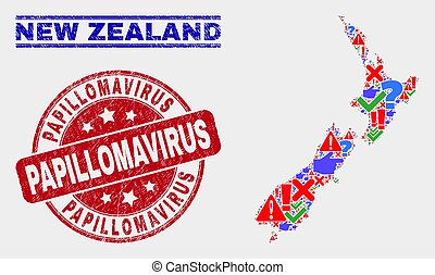 Collage of New Zealand Map Symbol Mosaic and Grunge Papillomavirus Stamp