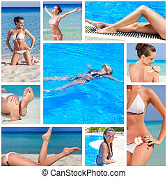 Collage of nine photos with sea and woman
