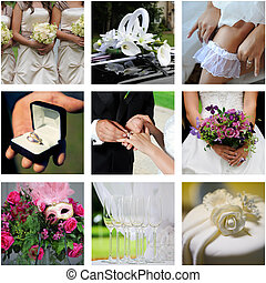 Collage of nine wedding color photos on withe a background