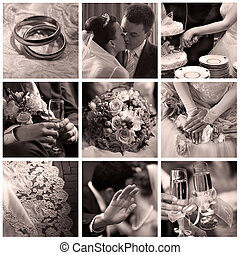 Collage of nine wedding photos in sepia
