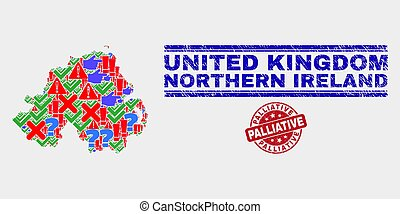 Collage of Northern Ireland Map Sign Mosaic and Grunge Palliative Stamp
