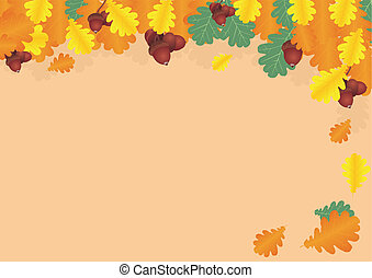 oak leaves and acorns - collage of oak leaves and acorns in...