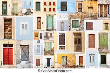 Collage of old retro doors and windows.