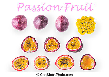 Collage of passion fruit on the white background