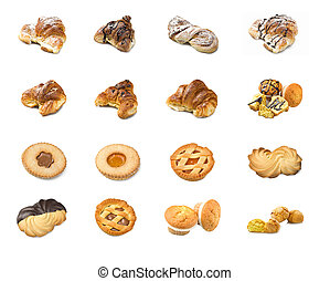 Collage of pastry on the white background