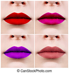 Collage of perfect female lips with colorful lipstick.