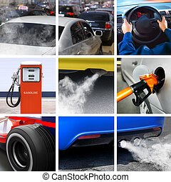 collage of petroleum industry and pollution from cars