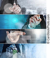 Collage of photo business strategy as concept