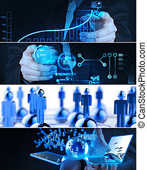 Collage of photo business strategy as concept - Collage of...