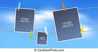 Collage of photo frames or scrapbook vector illustration