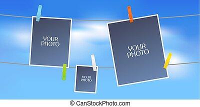Collage of photo frames or scrapbook vector illustration