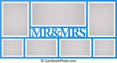 Collage of photo frames vector illustration, background