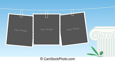Collage of photo frames vector illustration