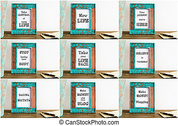 Collage of photo frames with various motivational texts