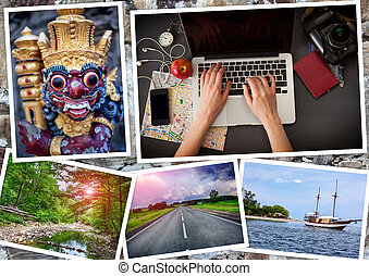collage of photographs on the theme a journey