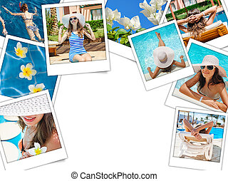 collage of photos of the beautiful woman on vacation at sea